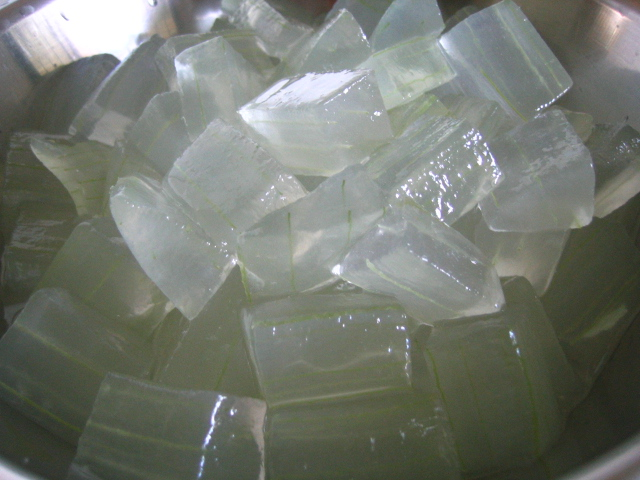 Aloe Vera Gel being prepared as a desert